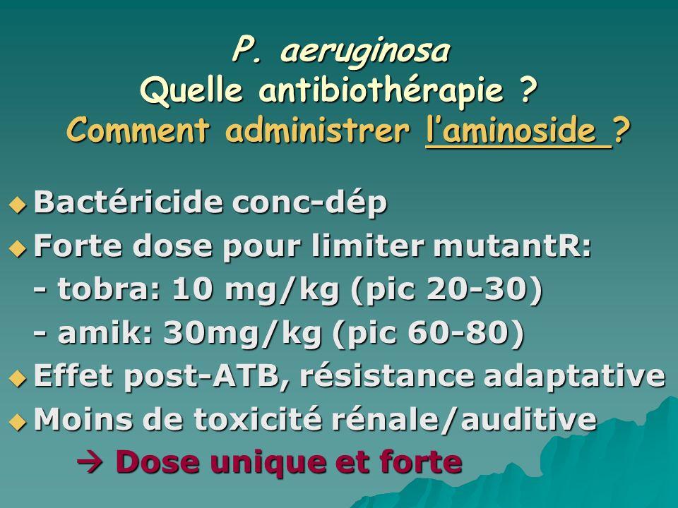 P. aeruginosa Quelle antibiothérapie ? Bactéricide conc-dép Bactéricide conc-dép Forte dose pour limiter mutantR: Forte dose pour limiter mutantR: - t