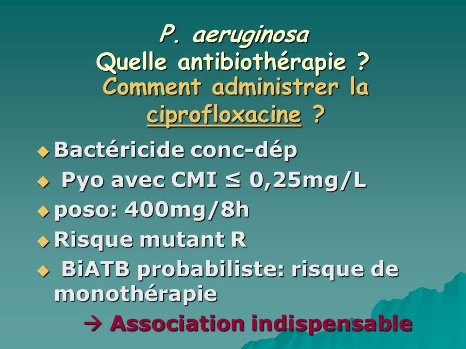 P. aeruginosa Quelle antibiothérapie ? Bactéricide conc-dép Bactéricide conc-dép Pyo avec CMI 0,25mg/L Pyo avec CMI 0,25mg/L poso: 400mg/8h poso: 400m