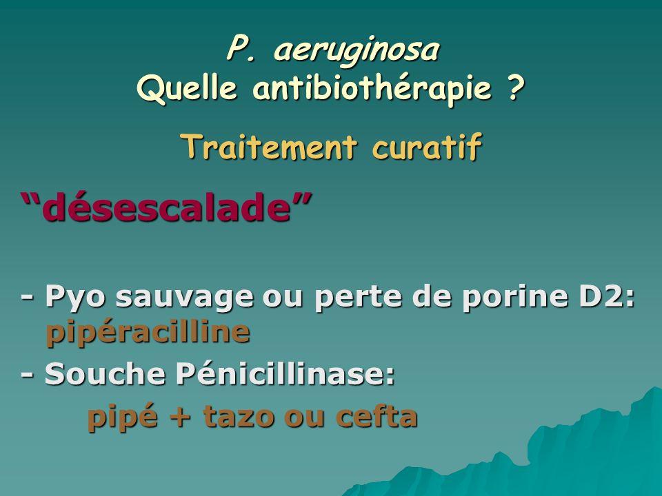P. aeruginosa Quelle antibiothérapie ? désescalade - Pyo sauvage ou perte de porine D2: pipéracilline - Souche Pénicillinase: pipé + tazo ou cefta Tra