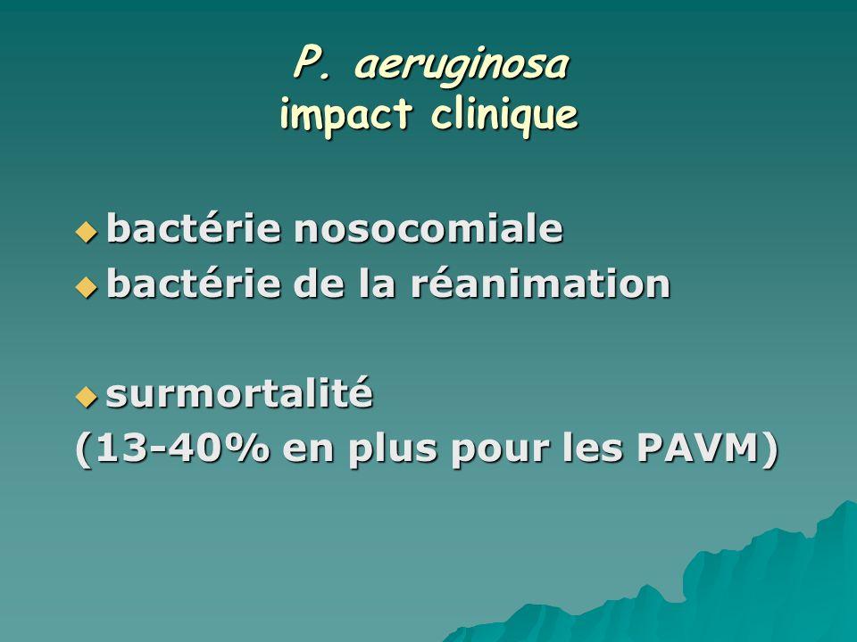 P. aeruginosa impact clinique bactérie nosocomiale bactérie nosocomiale bactérie de la réanimation bactérie de la réanimation surmortalité surmortalit