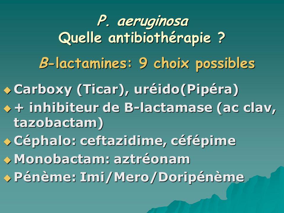 P. aeruginosa Quelle antibiothérapie ? Carboxy (Ticar), uréido(Pipéra) Carboxy (Ticar), uréido(Pipéra) + inhibiteur de B-lactamase (ac clav, tazobacta