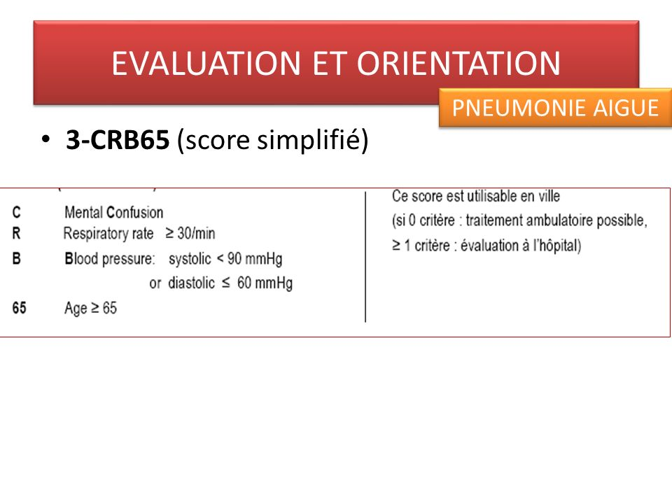 3-CRB65 (score simplifié) EVALUATION ET ORIENTATION PNEUMONIE AIGUE