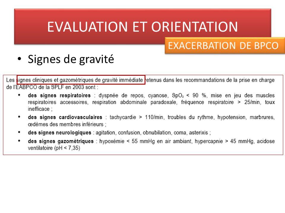 Recommandation dhospitalisation Hospitalisation en soins intensifs ou réanimation à discuter selon les critères de gravité EVALUATION ET ORIENTATION EXACERBATION DE BPCO