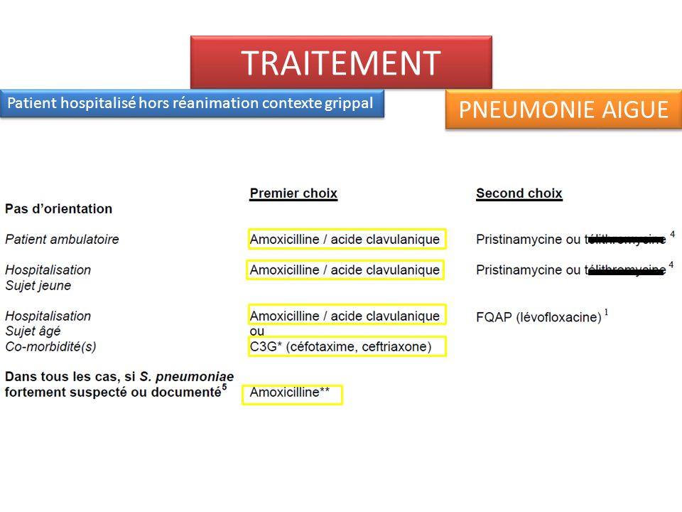 TRAITEMENT Patient hospitalisé en réanimation ou soins intensifs, contexte grippal PNEUMONIE AIGUE
