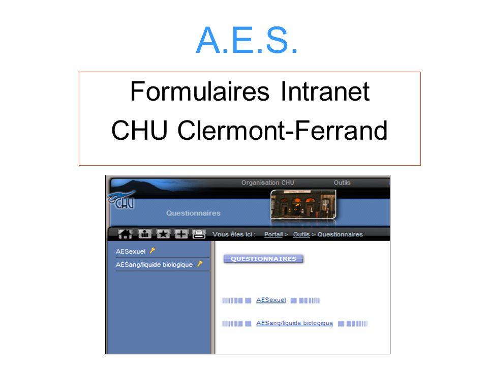 A.E.S. Formulaires Intranet CHU Clermont-Ferrand