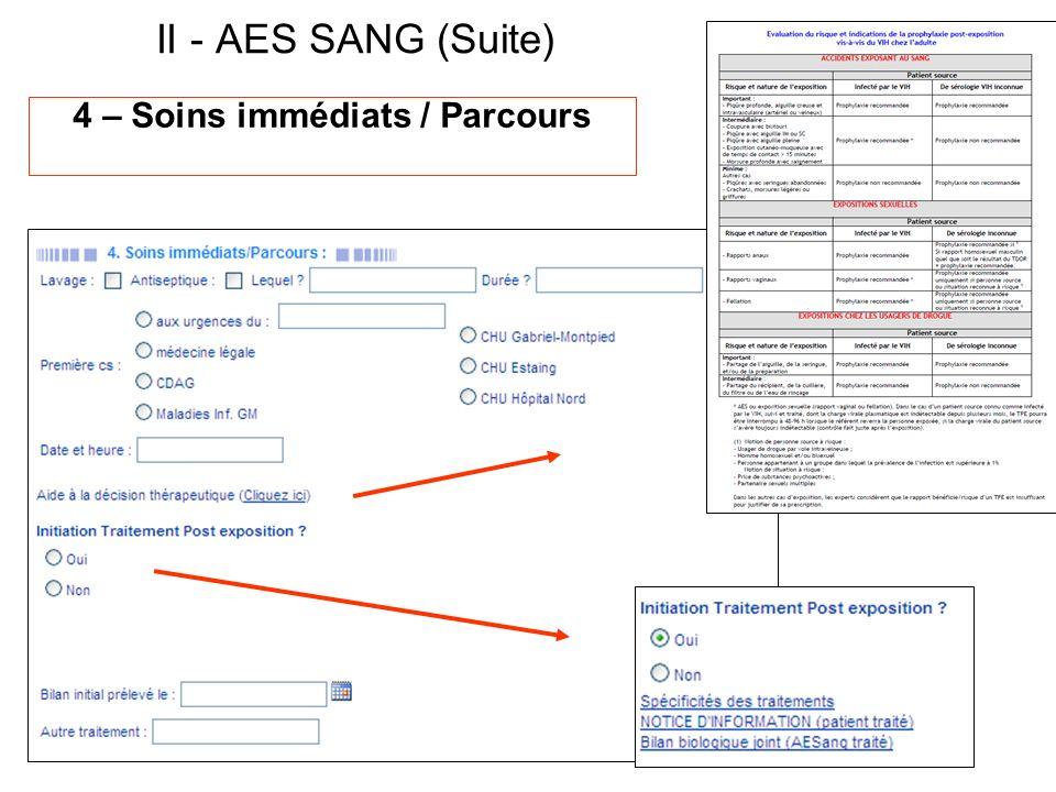 4 – Soins immédiats / Parcours II - AES SANG (Suite)