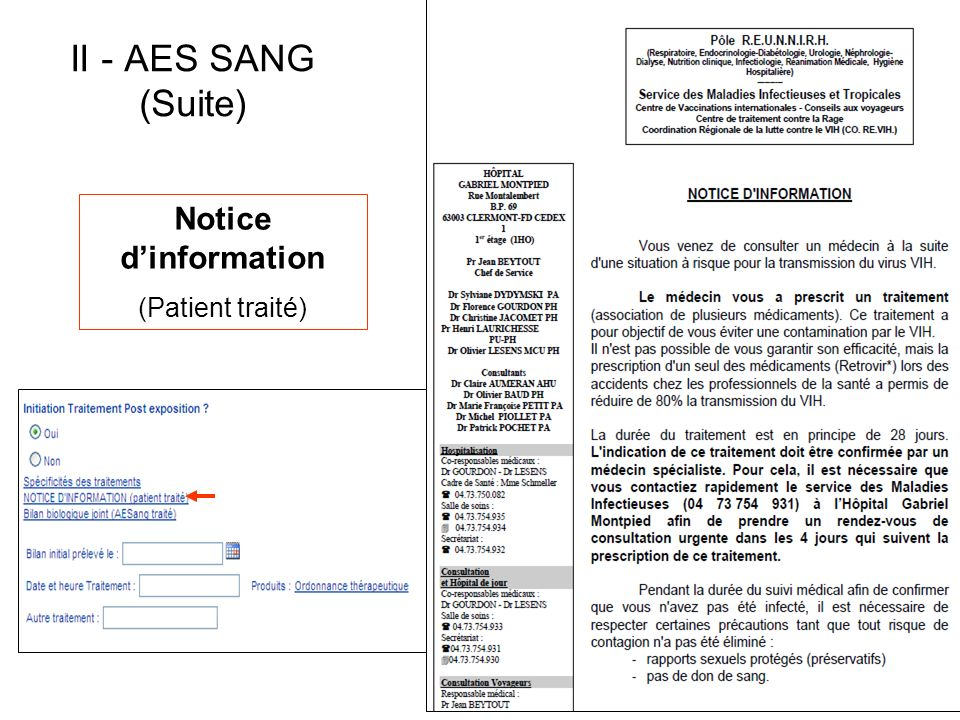 Notice dinformation (Patient traité) II - AES SANG (Suite)