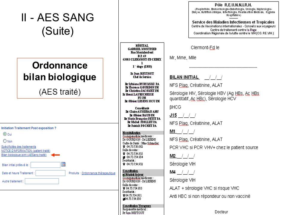Ordonnance bilan biologique (AES traité)