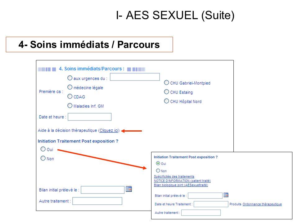 I- AES SEXUEL (Suite) 4- Soins immédiats / Parcours