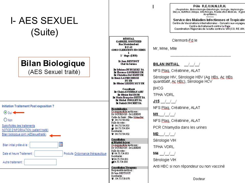 Bilan Biologique (AES Sexuel traité) I- AES SEXUEL (Suite)