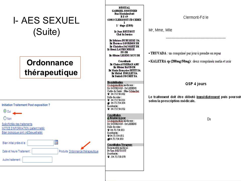 Ordonnance thérapeutique I- AES SEXUEL (Suite)