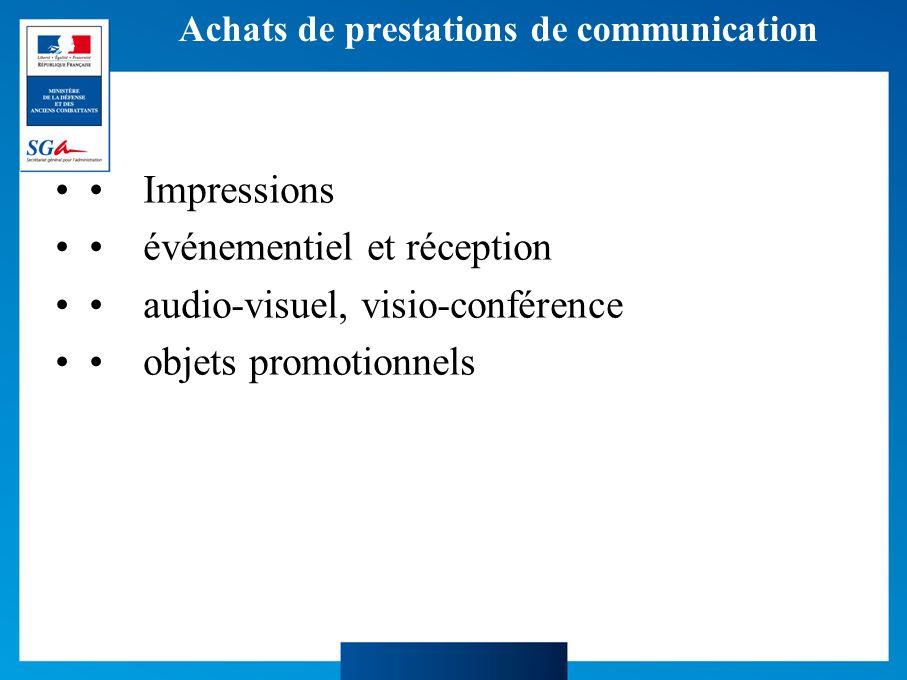 Achats de prestations de communication Impressions événementiel et réception audio-visuel, visio-conférence objets promotionnels