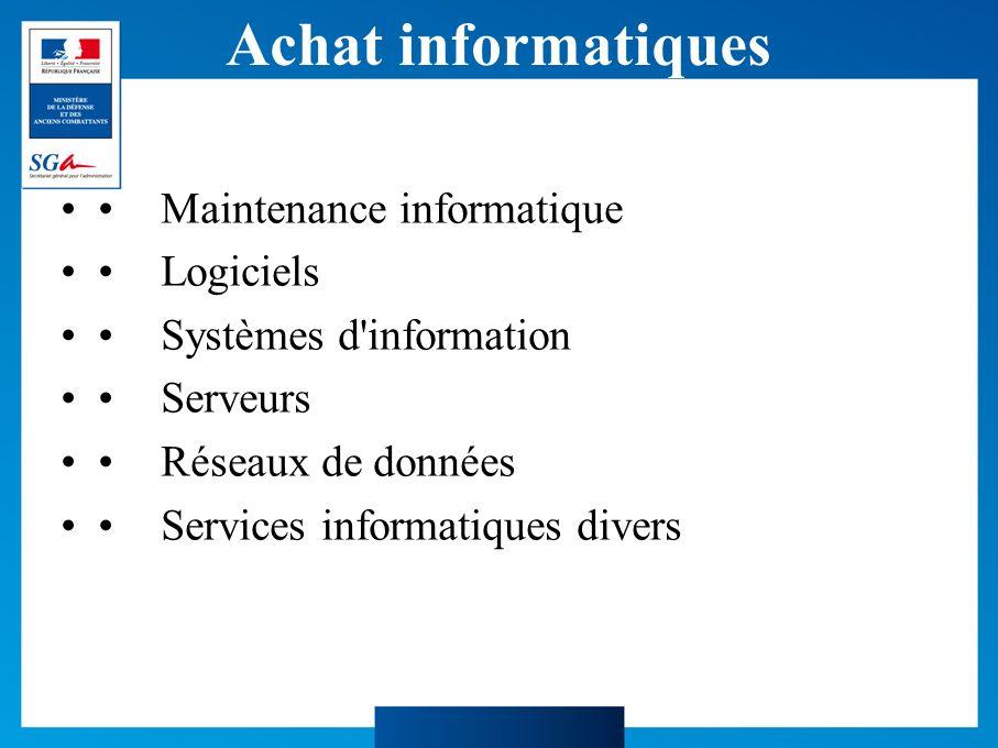 Achat informatiques Maintenance informatique Logiciels Systèmes d information Serveurs Réseaux de données Services informatiques divers