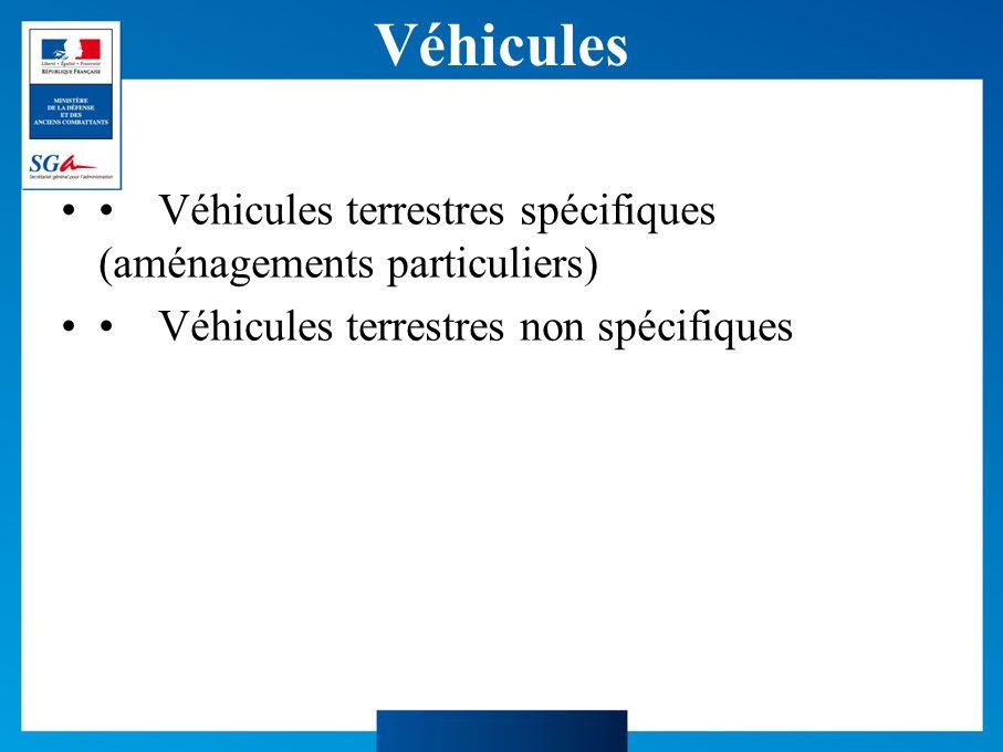 Véhicules Véhicules terrestres spécifiques (aménagements particuliers) Véhicules terrestres non spécifiques