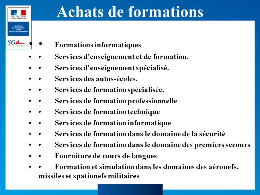 Achats de formations Formations informatiques Services d enseignement et de formation.