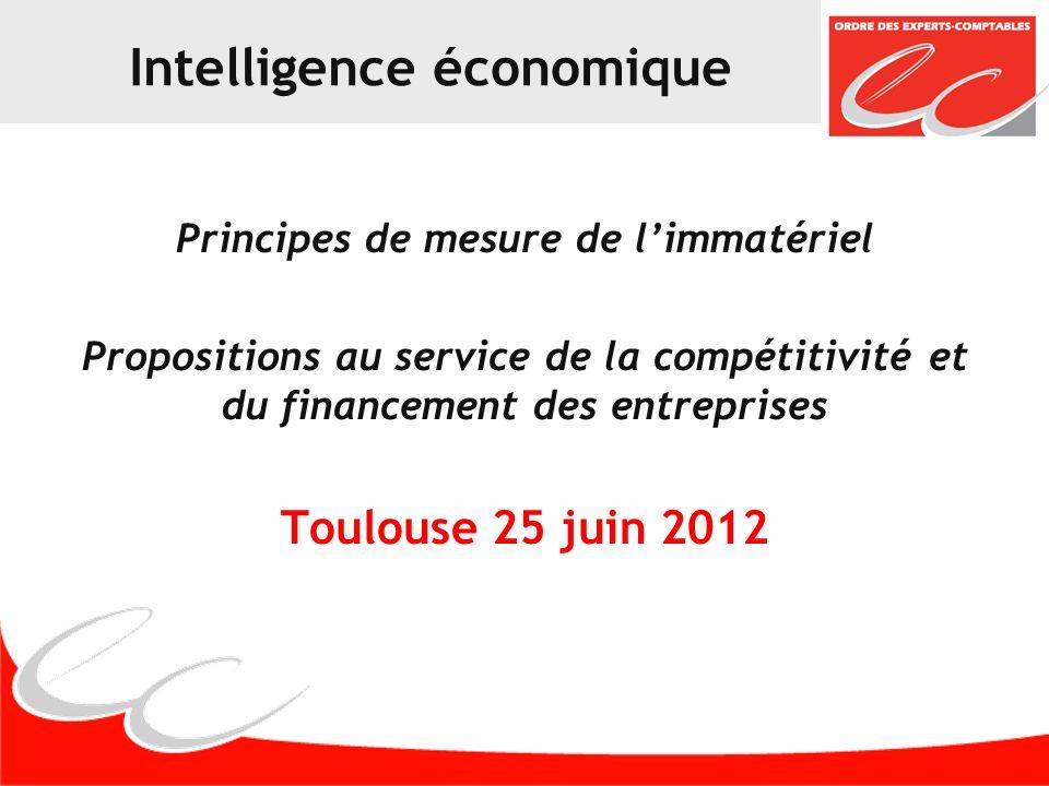 Intelligence économique Principes de mesure de limmatériel Propositions au service de la compétitivité et du financement des entreprises Toulouse 25 juin 2012