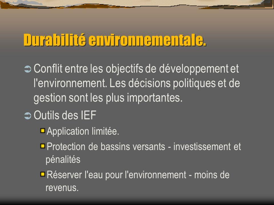 Durabilité environnementale. Conflit entre les objectifs de développement et l'environnement. Les décisions politiques et de gestion sont les plus imp