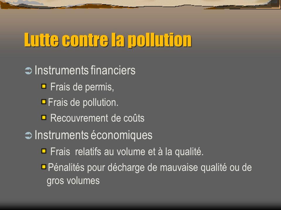 Lutte contre la pollution Instruments financiers Frais de permis, Frais de pollution. Recouvrement de coûts Instruments économiques Frais relatifs au