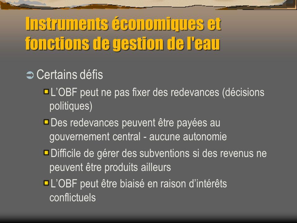 Instruments économiques et fonctions de gestion de l'eau Certains défis LOBF peut ne pas fixer des redevances (décisions politiques) Des redevances pe