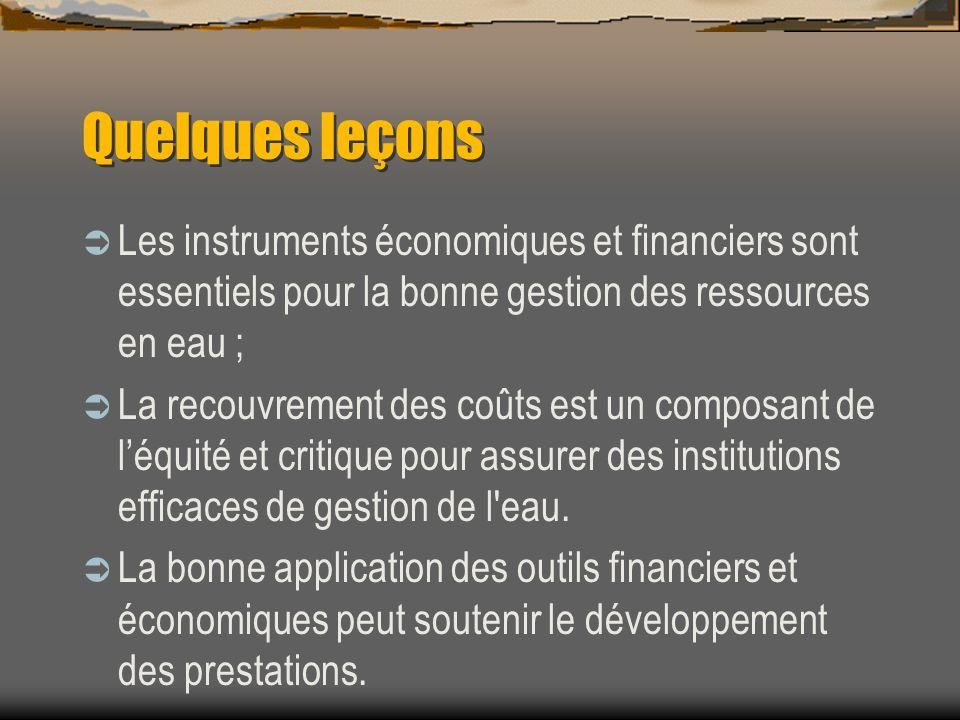 Quelques leçons Les instruments économiques et financiers sont essentiels pour la bonne gestion des ressources en eau ; La recouvrement des coûts est