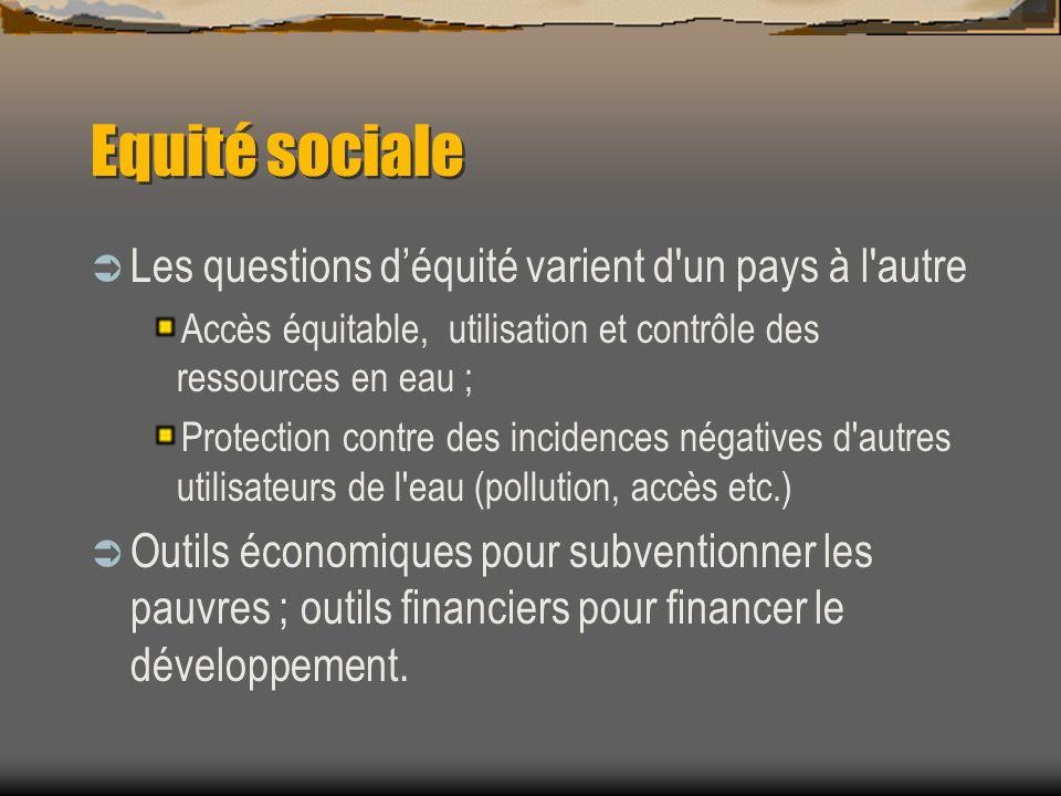 Equité sociale Les questions déquité varient d'un pays à l'autre Accès équitable, utilisation et contrôle des ressources en eau ; Protection contre de