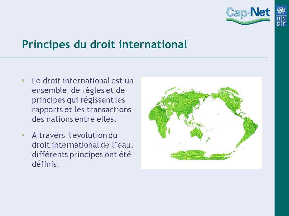 Principes du droit international Le droit international est un ensemble de règles et de principes qui régissent les rapports et les transactions des n