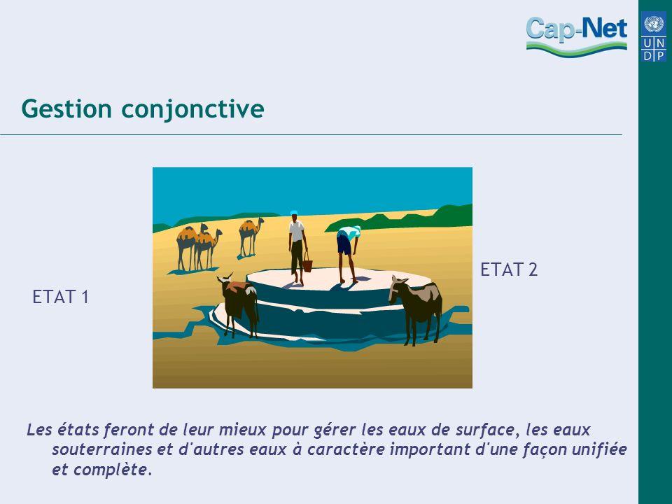 Gestion conjonctive ETAT 2 ETAT 1 Les états feront de leur mieux pour gérer les eaux de surface, les eaux souterraines et d'autres eaux à caractère im