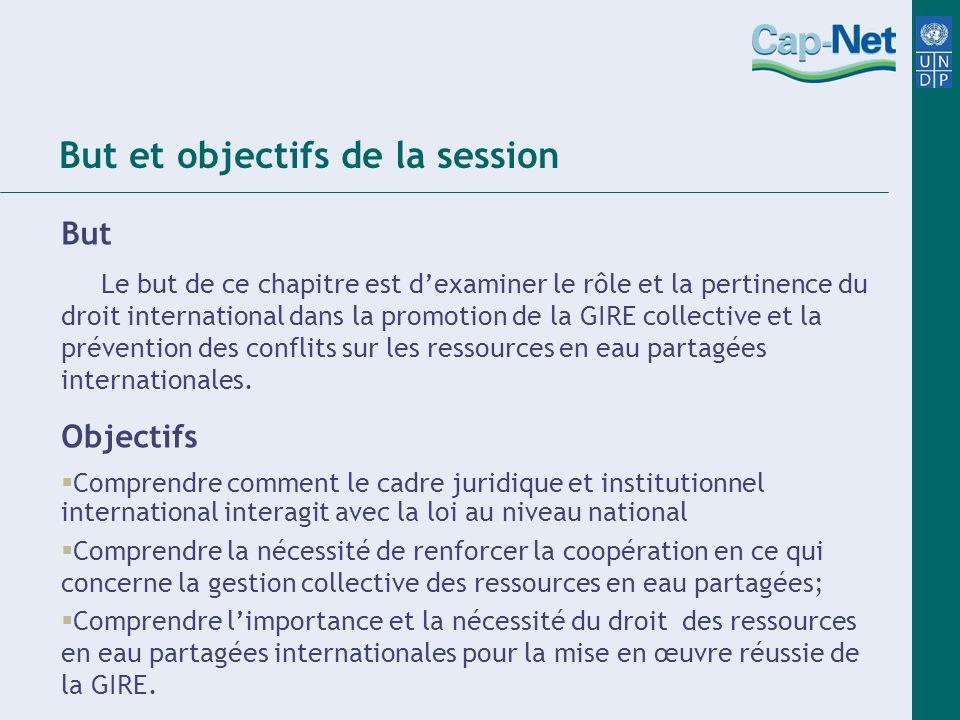 But et objectifs de la session But Le but de ce chapitre est dexaminer le rôle et la pertinence du droit international dans la promotion de la GIRE co