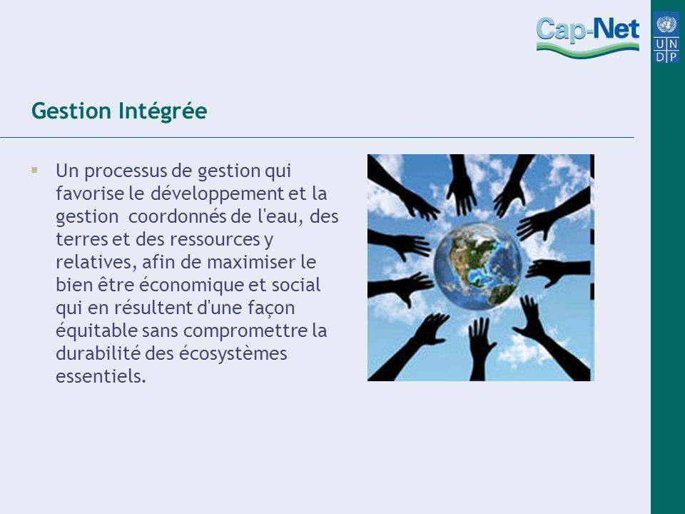 Gestion Intégrée Un processus de gestion qui favorise le développement et la gestion coordonnés de l'eau, des terres et des ressources y relatives, af