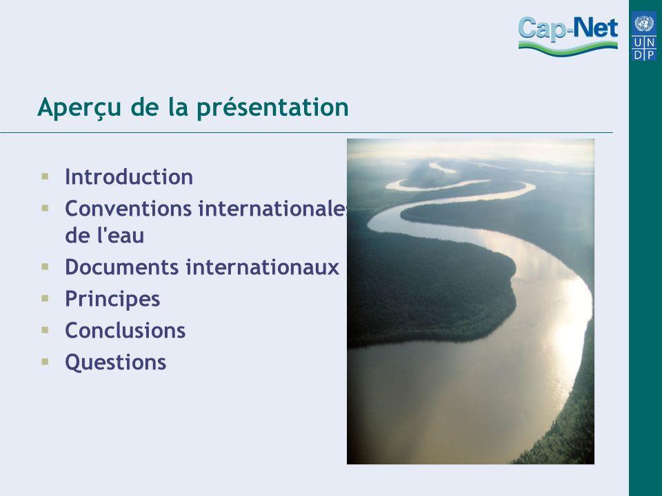 Aperçu de la présentation Introduction Conventions internationalesde de l'eau Documents internationaux Principes Conclusions Questions