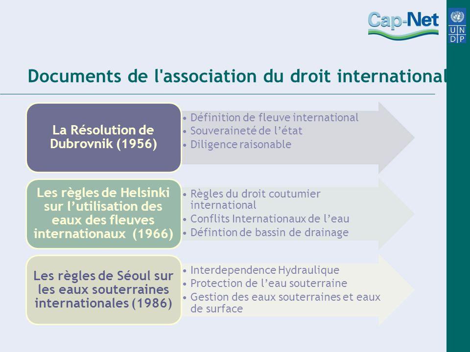 Déclarations « Les Règles de Berlin » : La Conférence de Berlin de lAssociation de droit international sur le droit des ressources en eau (2004) Le projet de traité de Bellagio (1987) La déclaration d Alicante.