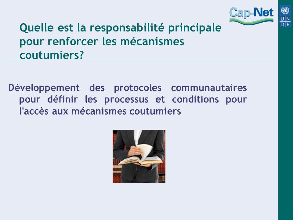 Quelle est la responsabilité principale pour renforcer les mécanismes coutumiers.