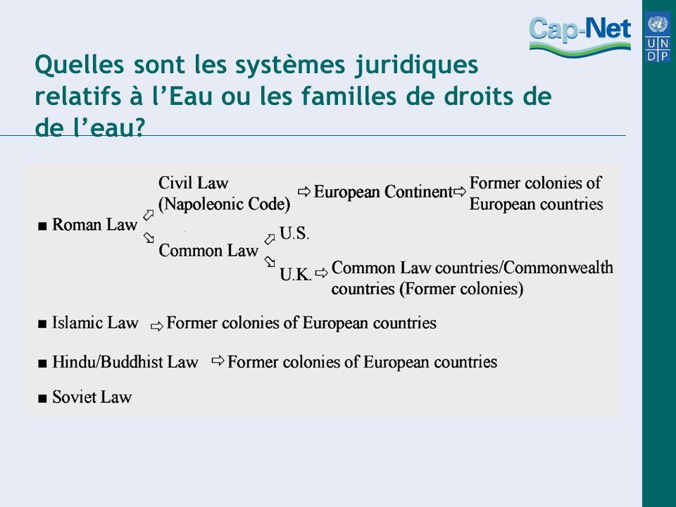 Quelles sont les systèmes juridiques relatifs à lEau ou les familles de droits de de leau