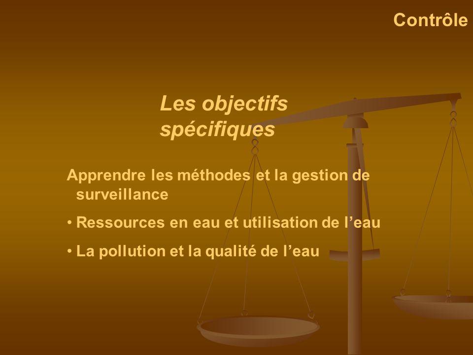 Apprendre les méthodes et la gestion de surveillance Ressources en eau et utilisation de leau La pollution et la qualité de leau Les objectifs spécifi