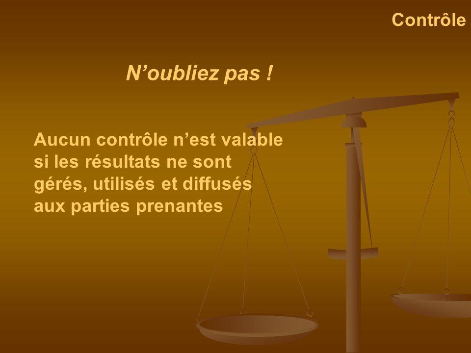 Aucun contrôle nest valable si les résultats ne sont gérés, utilisés et diffusés aux parties prenantes Noubliez pas ! Contrôle