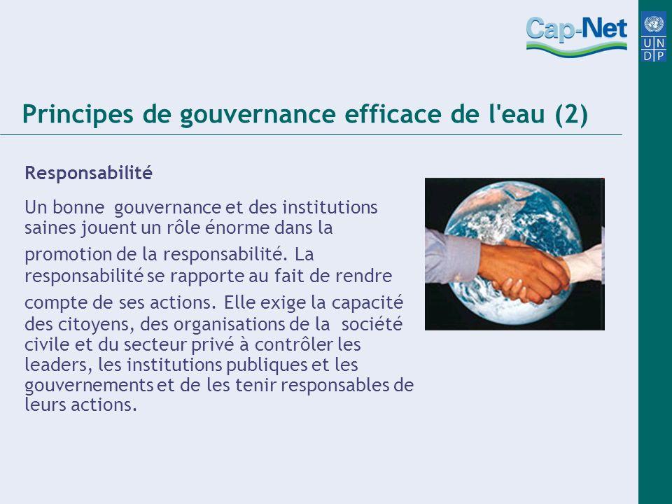 Principes de gouvernance efficace de l eau (2) Responsabilité Un bonne gouvernance et des institutions saines jouent un rôle énorme dans la promotion de la responsabilité.