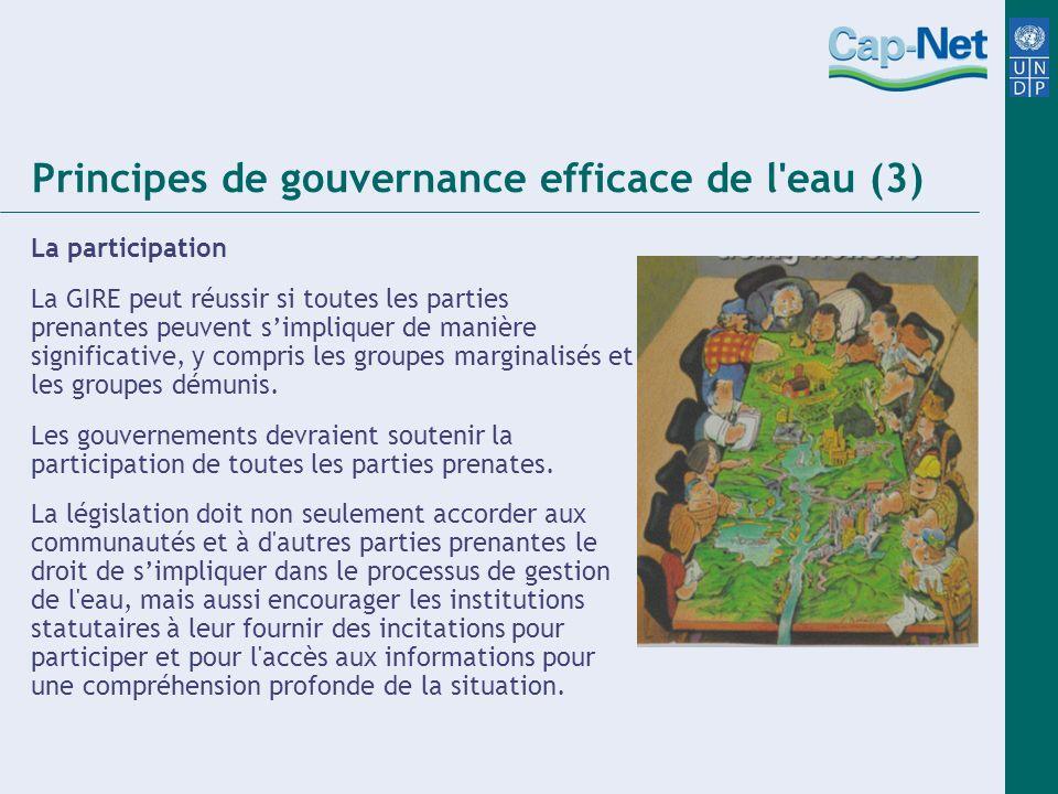 Principes de gouvernance efficace de l eau (3) La participation La GIRE peut réussir si toutes les parties prenantes peuvent simpliquer de manière significative, y compris les groupes marginalisés et les groupes démunis.