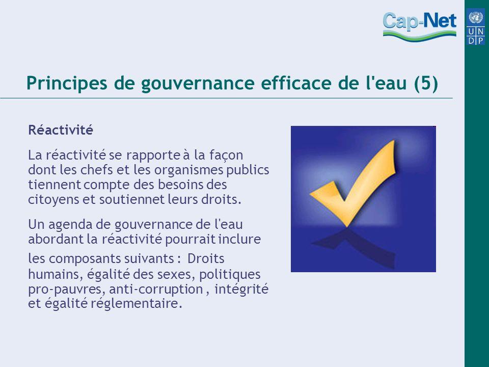 Principes de gouvernance efficace de l eau (5) Réactivité La réactivité se rapporte à la façon dont les chefs et les organismes publics tiennent compte des besoins des citoyens et soutiennet leurs droits.