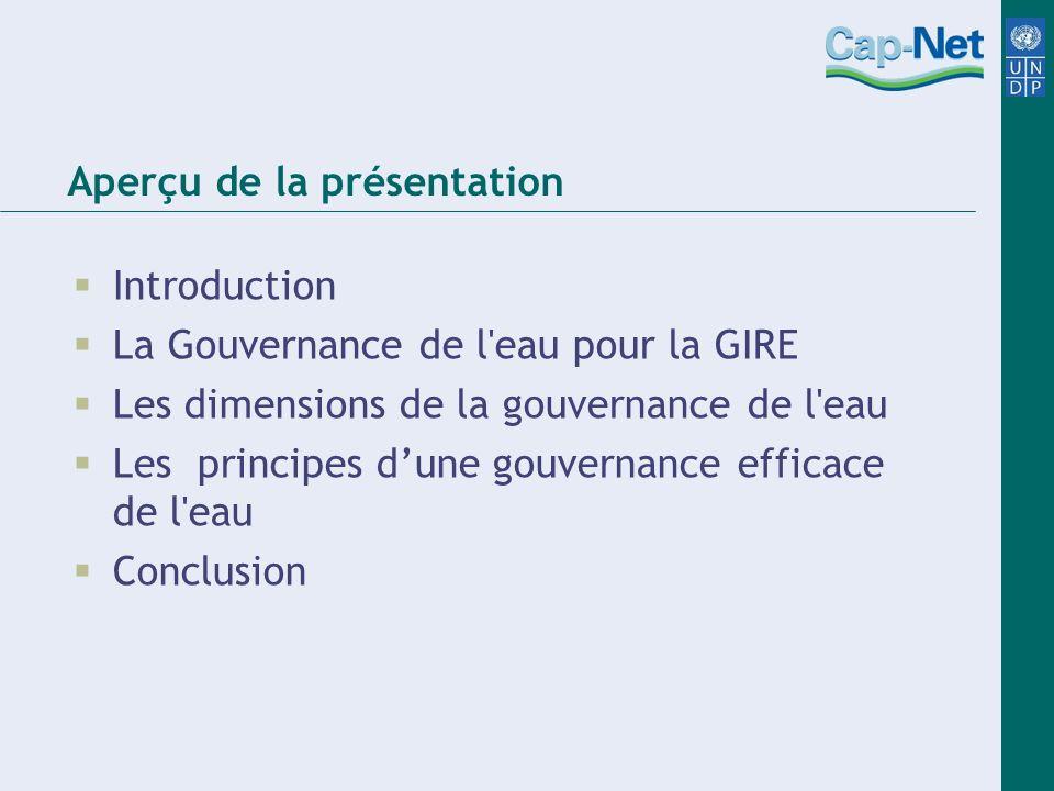 Aperçu de la présentation Introduction La Gouvernance de l'eau pour la GIRE Les dimensions de la gouvernance de l'eau Les principes dune gouvernance e