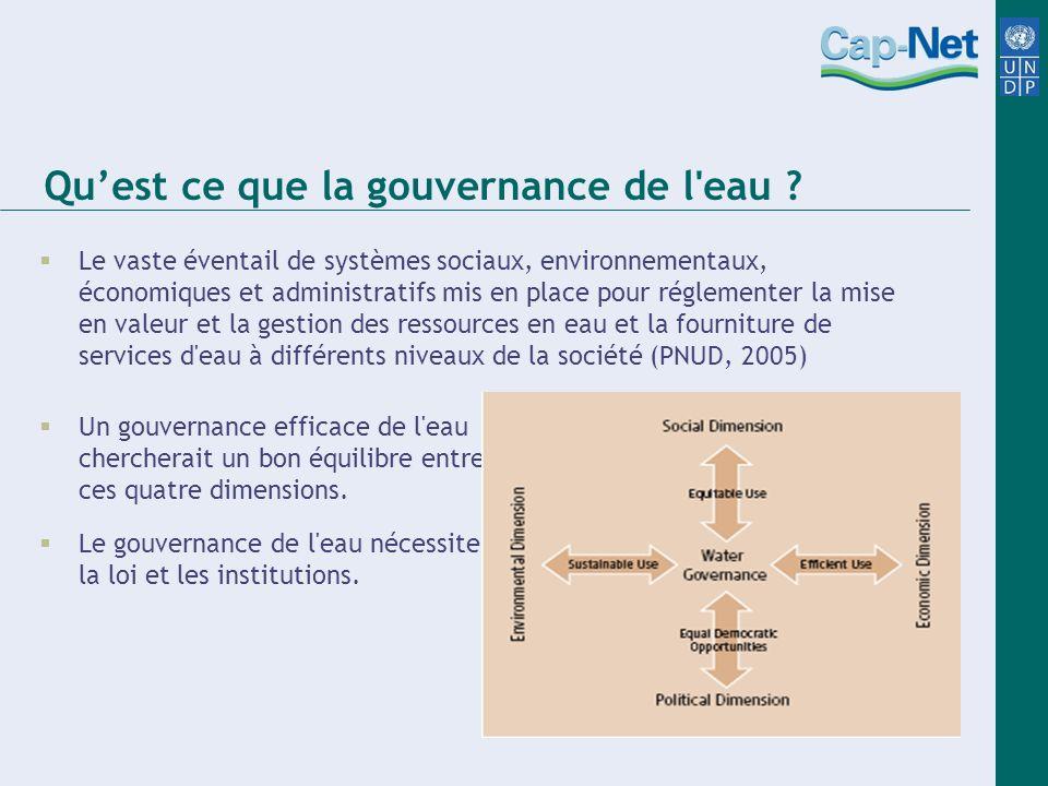 Quest ce que la gouvernance de l'eau ? Le vaste éventail de systèmes sociaux, environnementaux, économiques et administratifs mis en place pour réglem