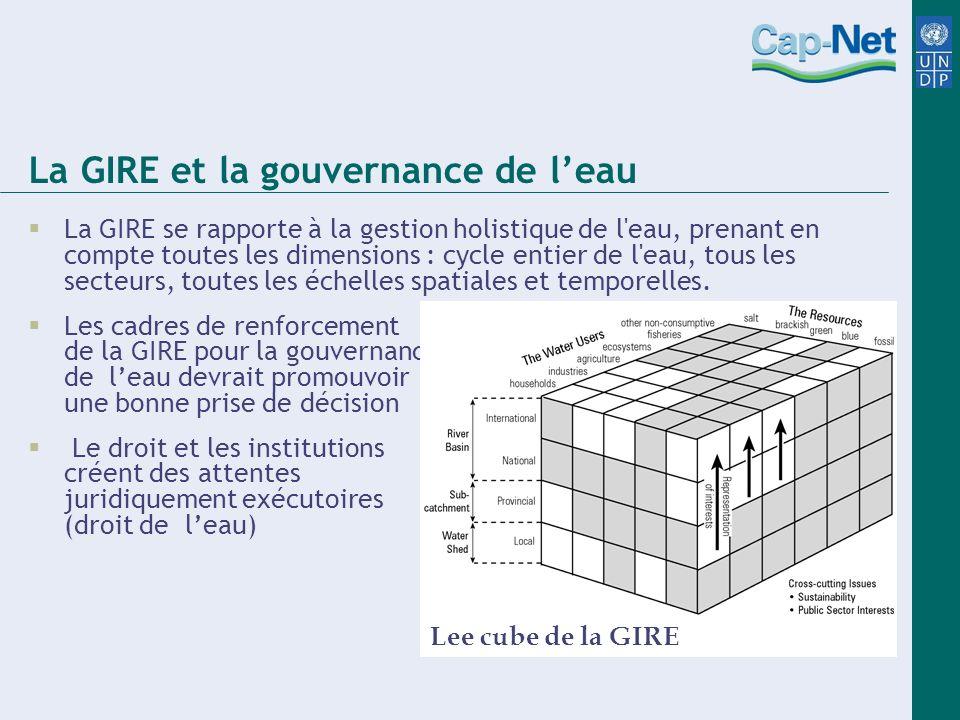 La GIRE et la gouvernance de leau La GIRE se rapporte à la gestion holistique de l eau, prenant en compte toutes les dimensions : cycle entier de l eau, tous les secteurs, toutes les échelles spatiales et temporelles.