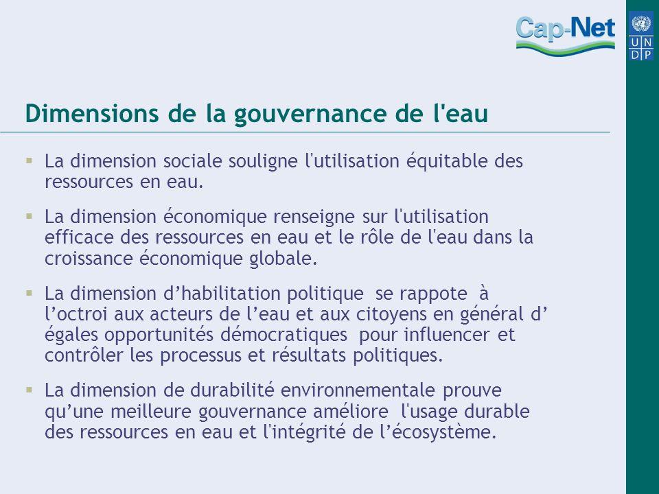 Dimensions de la gouvernance de l'eau La dimension sociale souligne l'utilisation équitable des ressources en eau. La dimension économique renseigne s