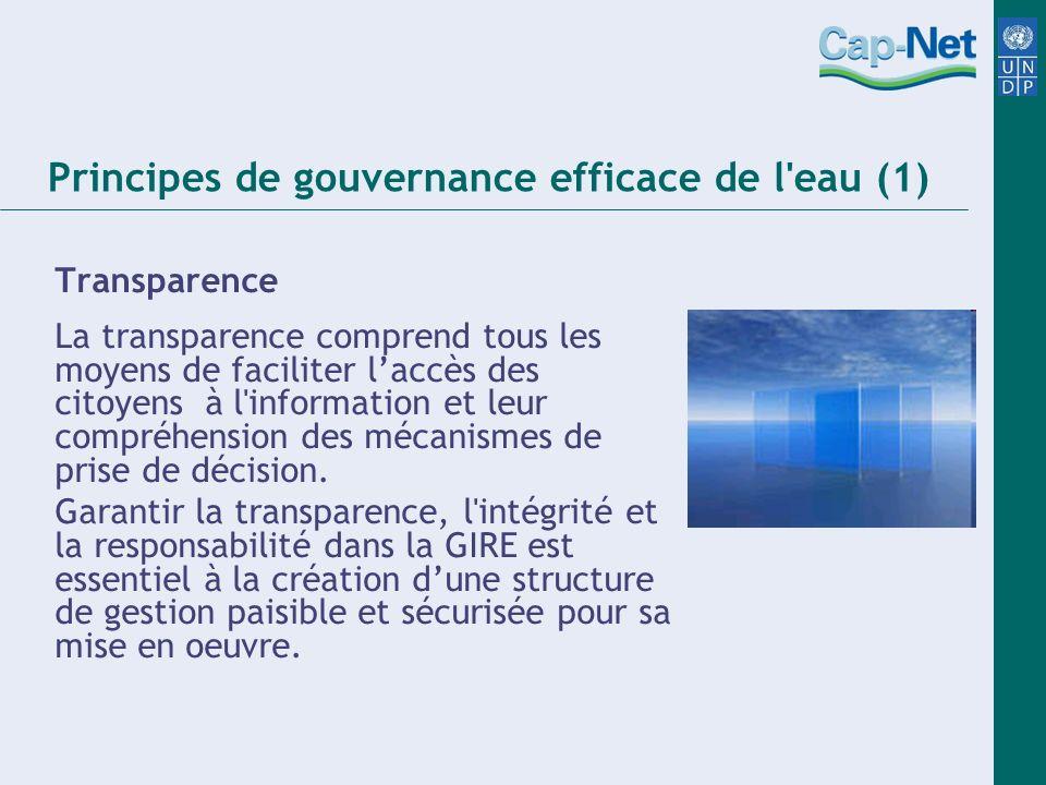Principes de gouvernance efficace de l eau (1) Transparence La transparence comprend tous les moyens de faciliter laccès des citoyens à l information et leur compréhension des mécanismes de prise de décision.