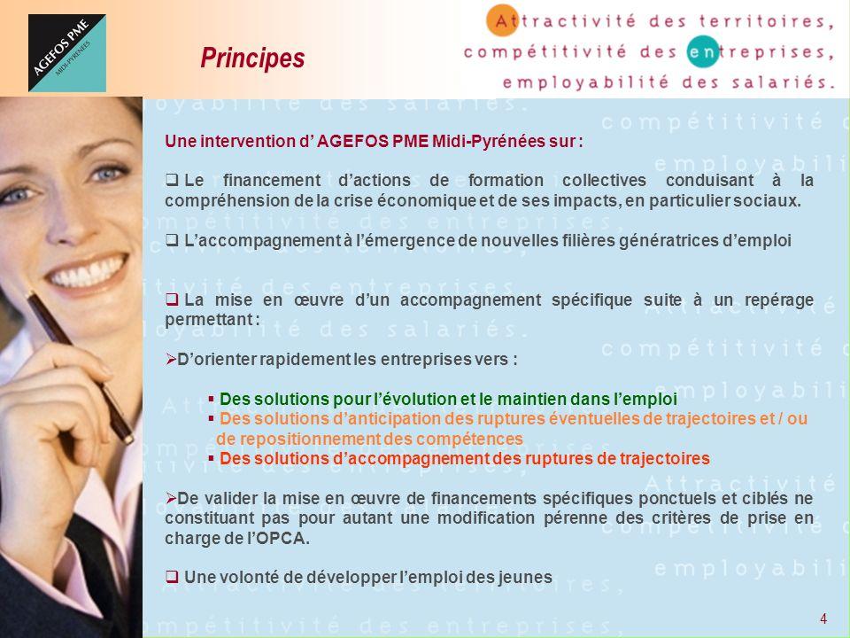 4 Une intervention d AGEFOS PME Midi-Pyrénées sur : Le financement dactions de formation collectives conduisant à la compréhension de la crise économi