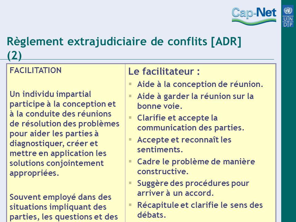 Règlement extrajudiciaire de conflits [ADR] (2) FACILITATION Un individu impartial participe à la conception et à la conduite des réunions de résoluti