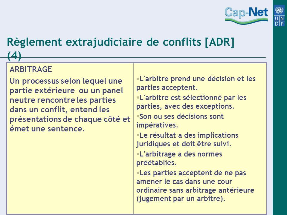 ARBITRAGE Un processus selon lequel une partie extérieure ou un panel neutre rencontre les parties dans un conflit, entend les présentations de chaque