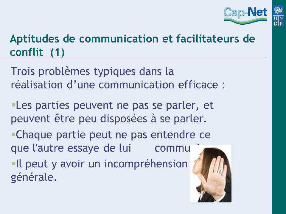 Trois problèmes typiques dans la réalisation dune communication efficace : Les parties peuvent ne pas se parler, et peuvent être peu disposées à se pa