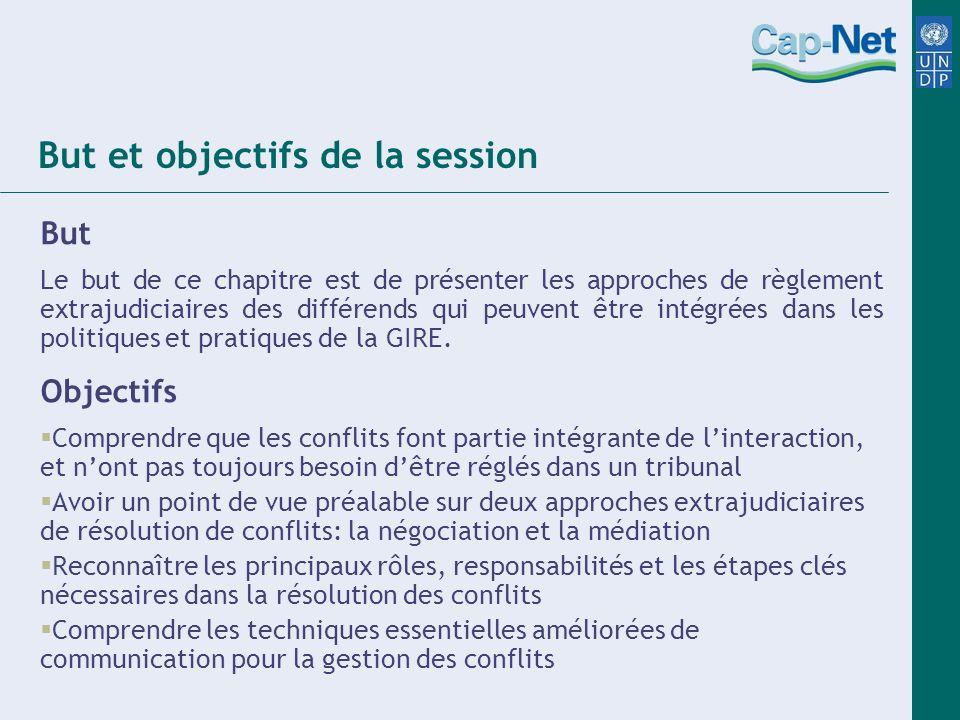 But et objectifs de la session But Le but de ce chapitre est de présenter les approches de règlement extrajudiciaires des différends qui peuvent être