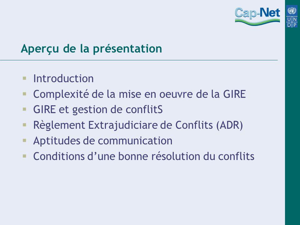 Aperçu de la présentation Introduction Complexité de la mise en oeuvre de la GIRE GIRE et gestion de conflitS Règlement Extrajudiciare de Conflits (AD