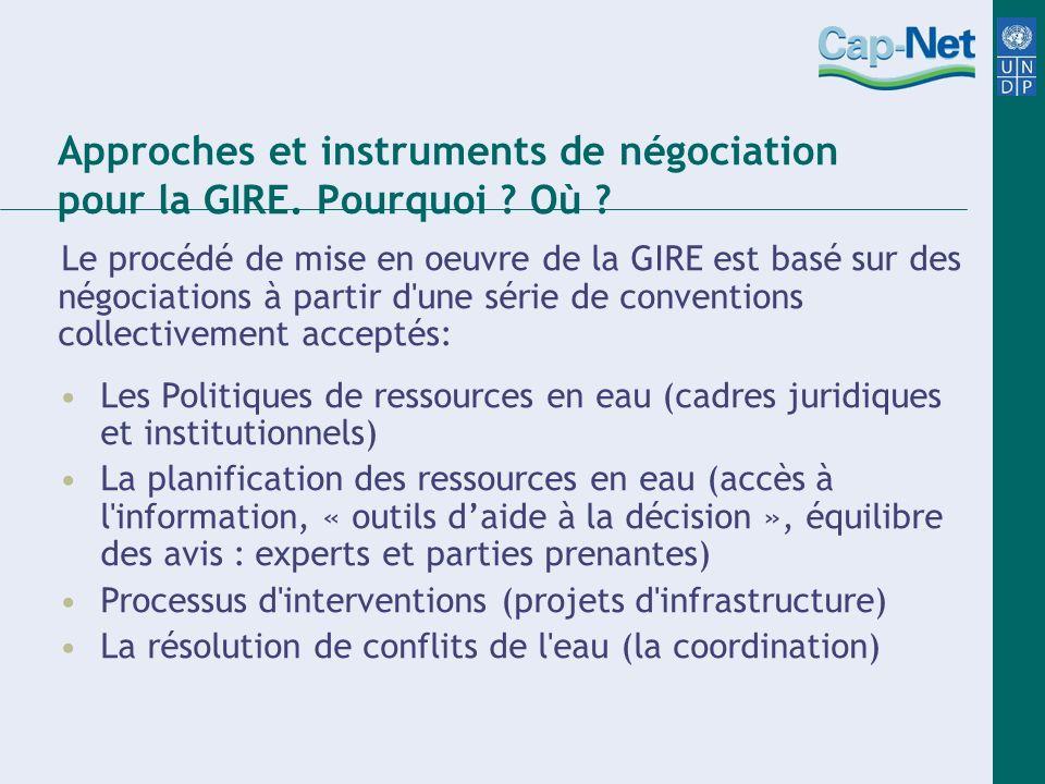 Approches et instruments de négociation pour la GIRE. Pourquoi ? Où ? Le procédé de mise en oeuvre de la GIRE est basé sur des négociations à partir d